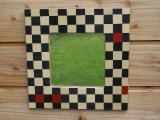Marquetry chequered mirror
