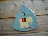 Marquetry elephant clock