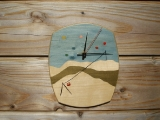 Marquetry ski slope clock