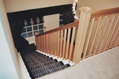 Painted and oak cut and mitred staircase